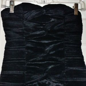 Ladies Party Black Strapless Pleats Bodycon Dress